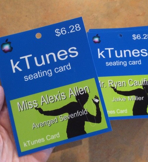 iTunes seating cards