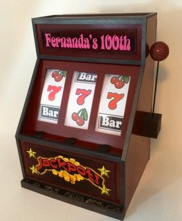 100th birthday slot machine gift card box