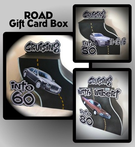 3d road as a gift card box