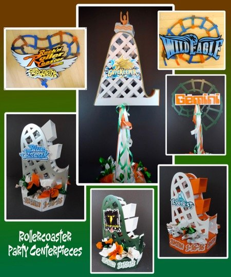 boys roller coaster amusement park party centerpieces
