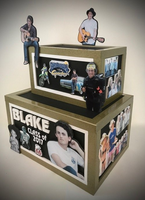 graduation gift card box in black and gold BLAKE