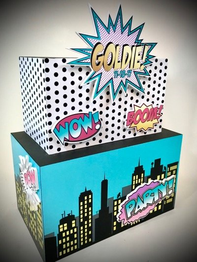 super hero gift card money box for a comic themed party