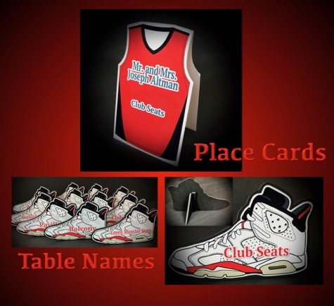 escort card place cards and table name sneakers
