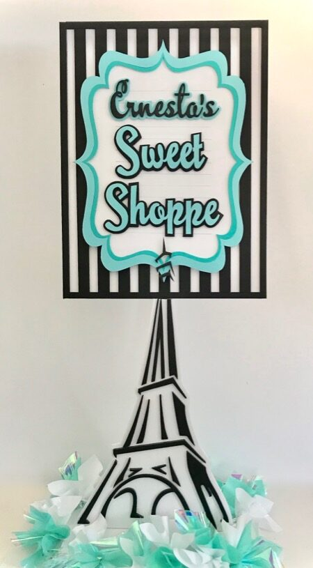 sweet shoppe sign with Eiffel Tower