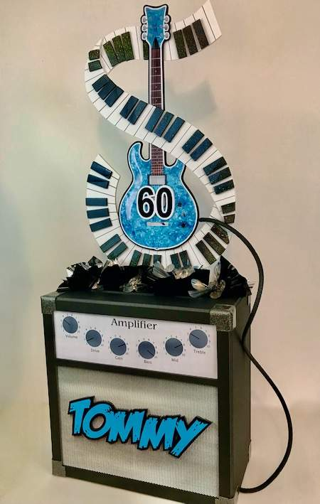 Guitar Birthday centerpiece with amp 60th Birthday Tommy